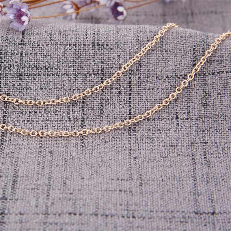 Emas Lapisan Kalung Rantai dengan Pentagram Liontin Rantai Liontin Kalung Perhiasan Pacar Hadiah Kalung