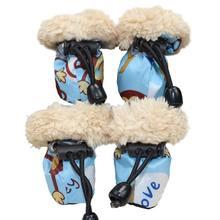 4 шт зимние толстые теплые ботинки для собак Нескользящие Водонепроницаемые