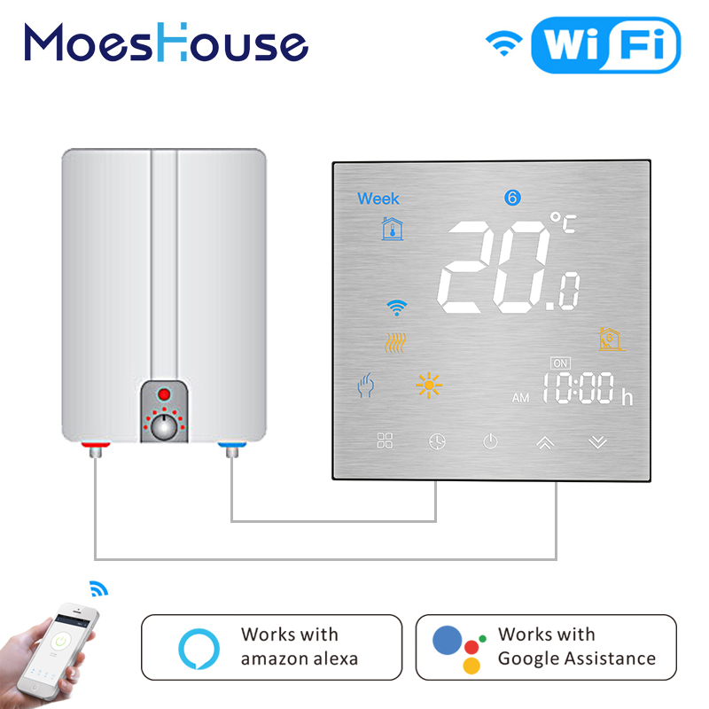 WiFi Smart Thermostat Programmable Temperature Controller For Water/Gas Boiler Metal Brushed Panel Works With Alexa Google Home