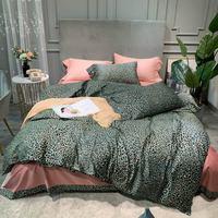 Wild Green Leopard Print Pink Duvet Cover Set Flat Sheet High Count Egyptian Cotton Bedlinens 4pcs Queen King Size Bedding Set