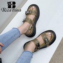 RizaBina sandały damskie prawdziwe skórzane buty letnie Foe kobiety modna klamra Slip On buty damskie buty damskie rozmiar 33-43