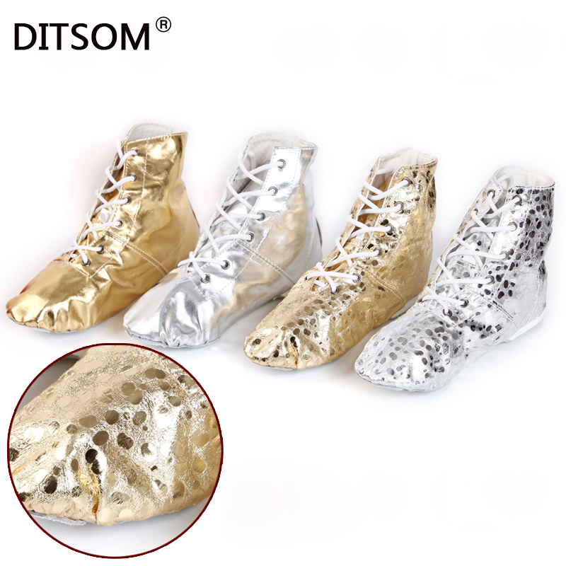 Belly Dance Boots For Women Gold Silver Colors Jazz Dance Shoes Soft Split Soles Pole Dance Shoes Ballet Shoes For Ladies 31-45