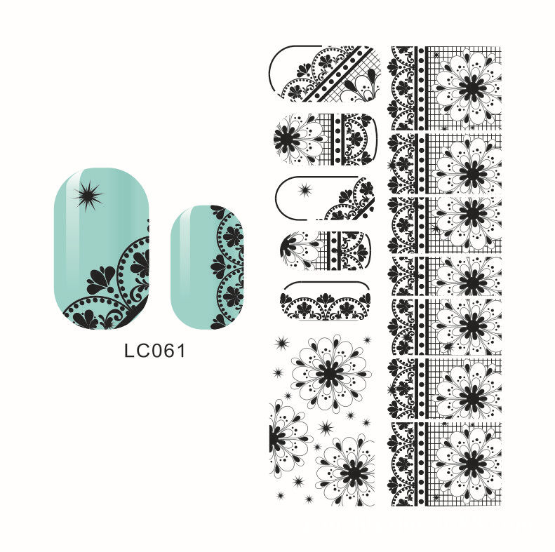 LC61-64 Black New Style Hot Selling Japan Popular 3D Lace Nail Sticker Bride Flower Stickers Currently Available Environmentally