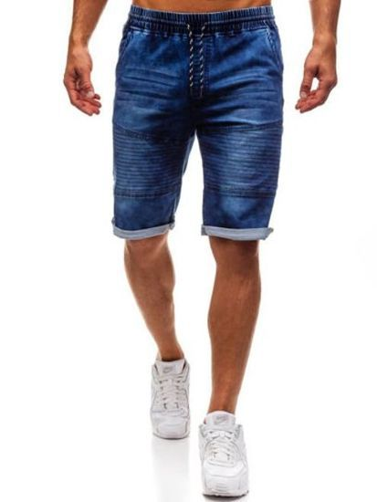 Europe And America MEN'S Jeans Shorts Summer Retro Slim Fit Straight-Cut With Holes Pleated Zipper Locomotive Short Shorts