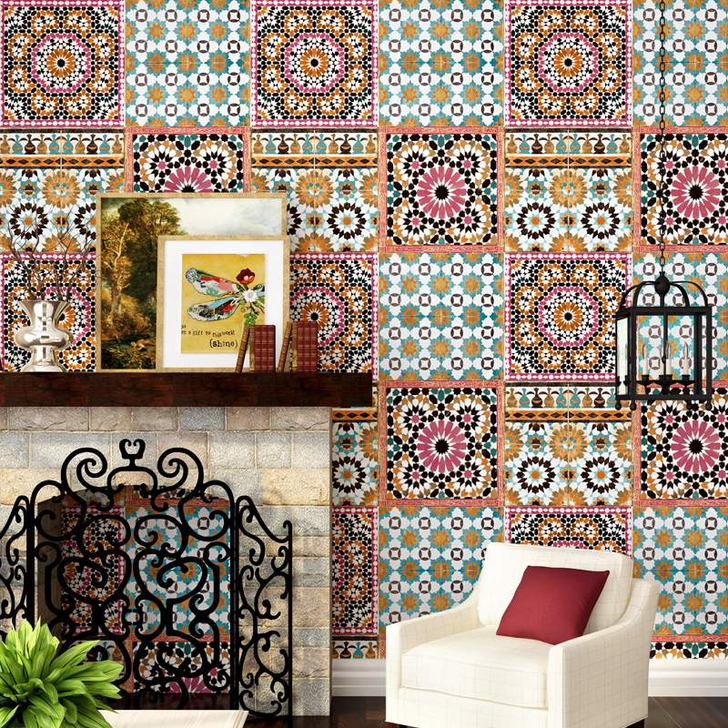 Personality 3D Warm Flower Tile Wallpaper Home Living Room Bedroom Restaurant Southeast Asia Thai Style TV Background Wall Paper