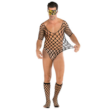 Men's Fishnet Bodycon Sexy Lingeries Mesh Transparent Bodysuit Plus Size Mask Sets Jumpsuit Erotic Tools Adult Gay Cosplay Sex image