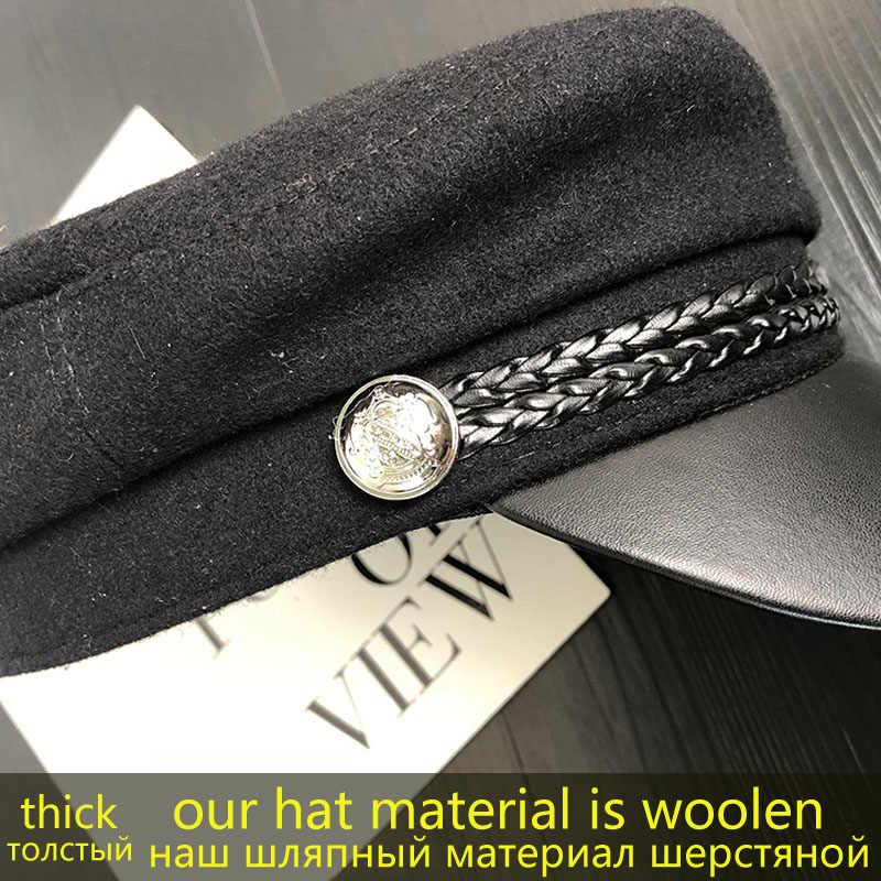 موضة بولي Leather الجلود قبعة عسكرية الخريف الشتاء الصوف بحار قبعة للنساء الرجال الأسود شقة علوي أنثى السفر كاديت قبعة الكابتن قبعة
