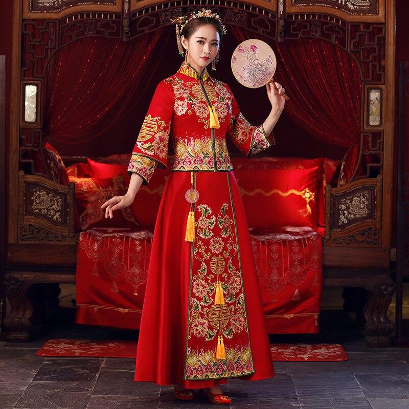 Broderie fleur Qipao exquise strass femmes Vintage mariage costume classique mariée mariage fête chine robe traditionnelle