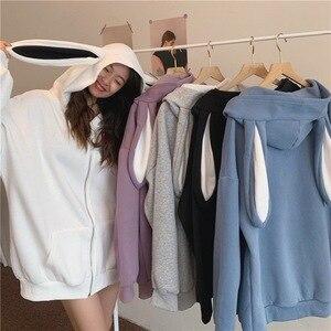 New Autumn Winter Women Cute Rabbit Ear Hoodie Long Sleeve Female Sweatshirts Loose Size Lovely Solid Blue Casual Tops