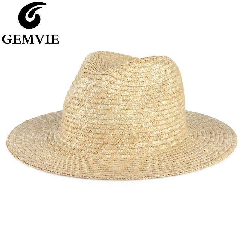 Gemvie Mens Summer Sun Hat Fedora Panama Hat Short Brim Beach Cap