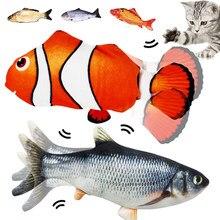 Pez eléctrico de juguete para gato, pez de imitación 3D de peluche suave, pez de peluche, juguete interactivo de baile, juguete blando gato