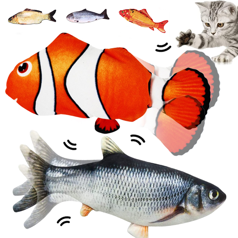 Cat Toy Electric Fish and Simulation Fish Catnip Toy Pet 3D Color Cat Toy Swing Fish Toy Interactive Dancing Fish and Fish Plush
