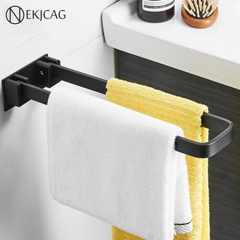 Nowa przestrzeń aluminium składany matowy czarny do montażu na ścianie łazienki wieszak na ręczniki składane wieszak na ręczniki wieszak na ręczniki tanie i dobre opinie nekjcag Ruchomy uchwyt na ręcznik kąpielowy Krótkie Lakierowane Wieszaki na ręczniki towel holder towel rack towel hanger