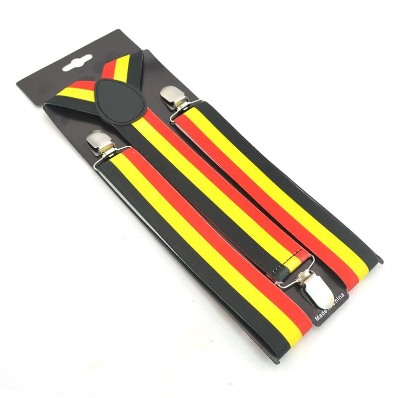 Fashion 3.5cm Belgium Flag Design Suspender Black Yellow Red Stripes Suspenders Men Men's Unisex Clip-on Braces Elastic Belt