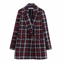 Stylish Office Lady Plaid Double Breasted Tweed Blazer Coat Women Fashion Long S