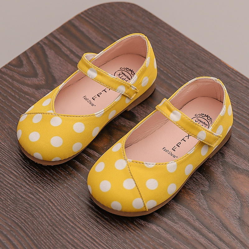 Spring Fashion Children Girls Leather Shoes Dot Print Baby Princess Shoes Lovely Toddler  Casual Soft Bottom SHS008