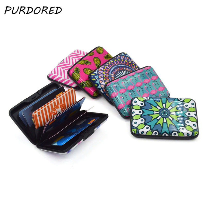 PURDORED 1 Pc Flamingo RFID Blocking Card Holder Unisex Aluminum Feather Business Card Holder Function Credit Card Bag Wallet