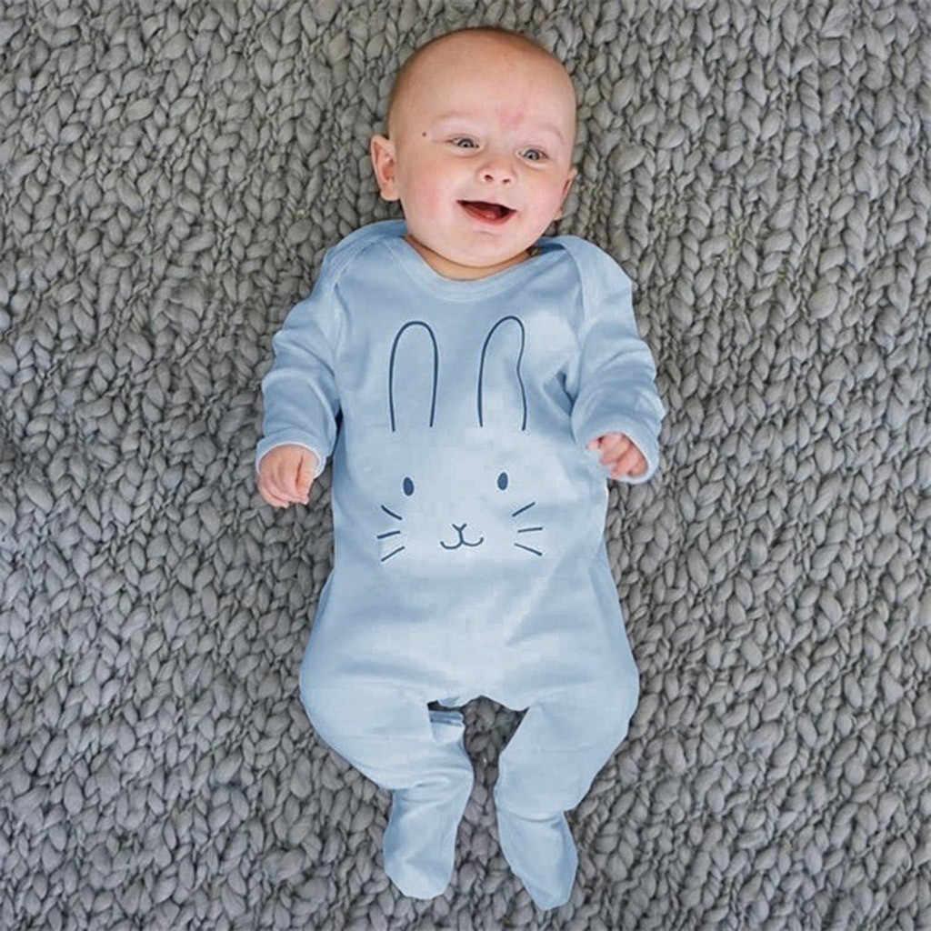Recién Nacido, bebé, niñas, niños, manga larga, estampado de dibujos animados de conejo, mono, ropa para bebé recién nacido, pelele para recién nacido