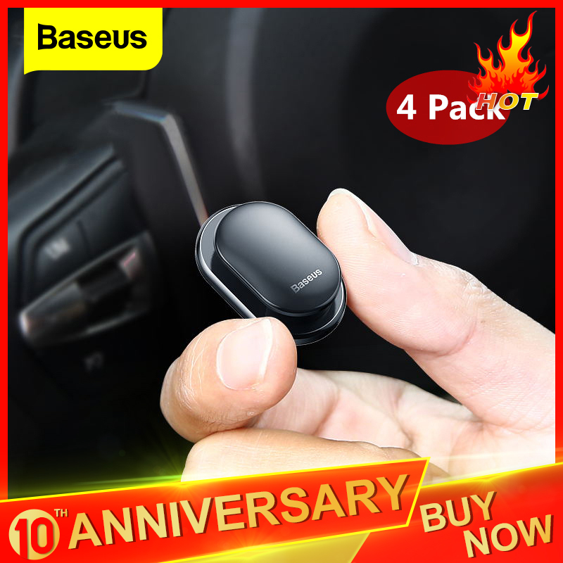 Baseus 4Pcs Car Clips USB Cable Organizer Storage Car Hook Car Sticker Holder Auto Fastener for Cable Headphone key Wall Hanger