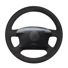 Zwart Suede Auto Stuurhoes Vlecht Voor Volkswagen Vw Golf 4 Iv Passat B5 Sharan Bora T4 T5 Seat alhambra 1997  2009 2010