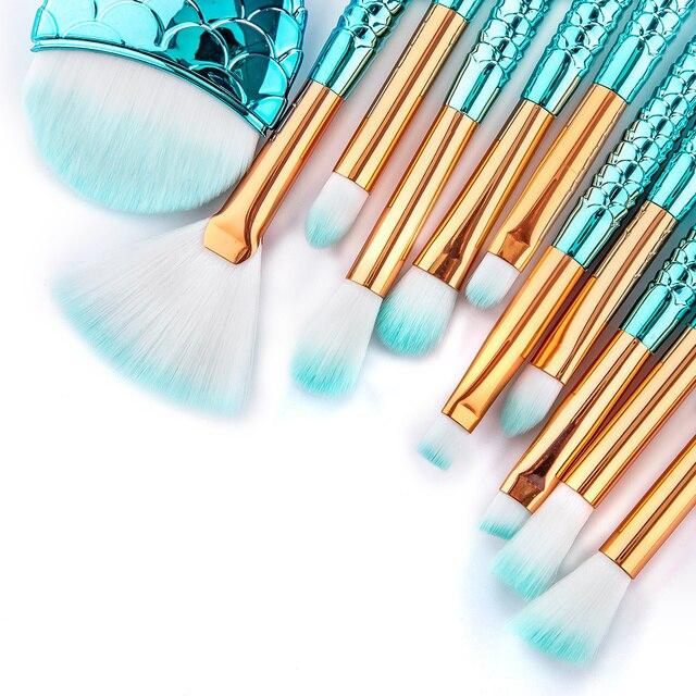 RANCAI 10/11pcs Makeup Brushes Kit maquiagem maquillaje New Mermaid Foundation Eyebrow Eyeliner Cosmetic makeup Brushes 3