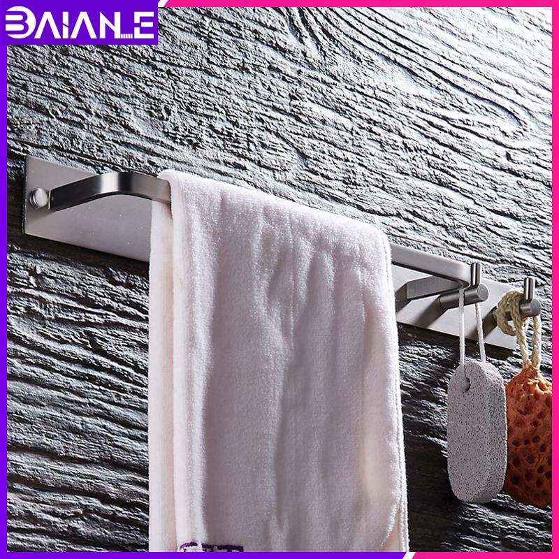 Towel Bar Black Aluminum Brushed Single Towel Holder Rail Wall Mounted Bathroom Towel Rack Hanging Holder with 2 Hooks toallero