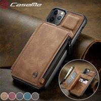 Funda de cuero con cremallera para teléfono móvil inteligente, cartera con cremallera para iPhone 12 11 Pro XS Max SE 2020 8 7 Plus, Samsung Note 20 Ultra S20 S10 S9 A51 A71