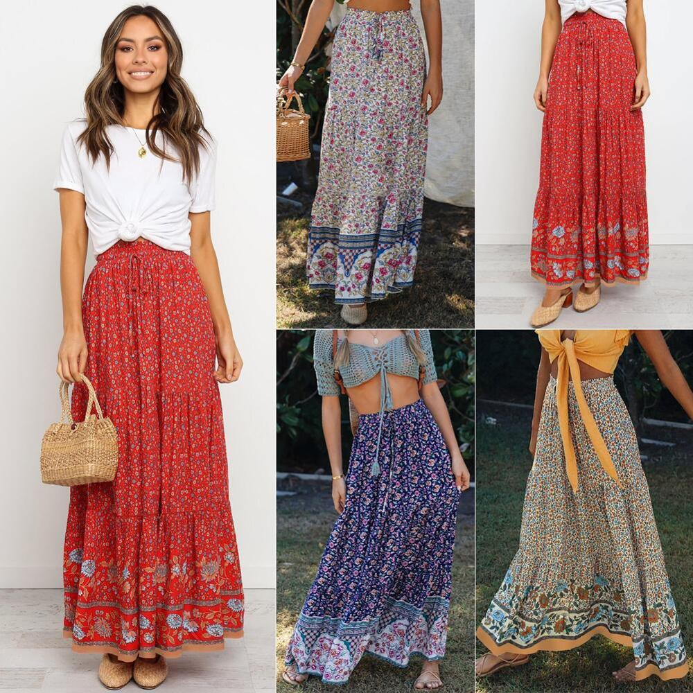 2020 Summer Women New Vintage Floral Print Skirts Boho Casual Loose High Waist Stretchy Lace Up Decor Cotton Long Skirts Female