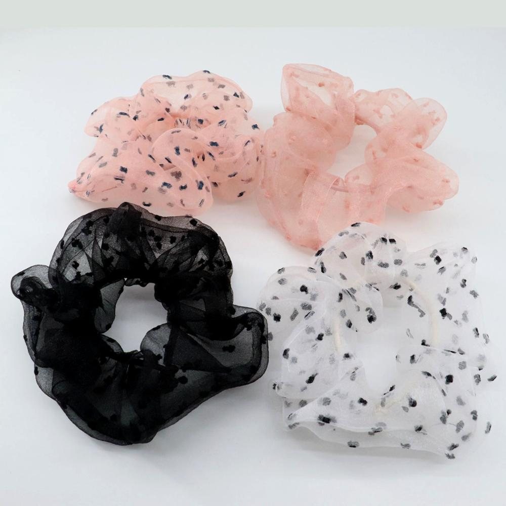 New Arrival Organza Scrunchies Dots Flocking Fashion Hair Ponytail Hold Elestic Hair Tie  Hair Accessories Gift For Her