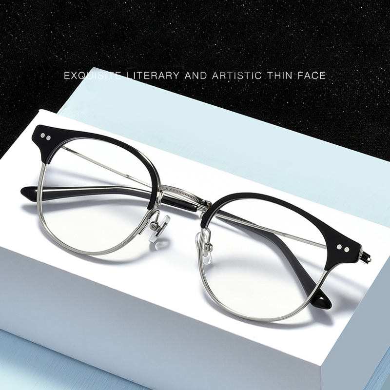 Fashional Eyeglasses Men Women Retro Round Semi Rimless Optical Prescription Glasses Frame Spectacles Eyewear Oculos De Grau