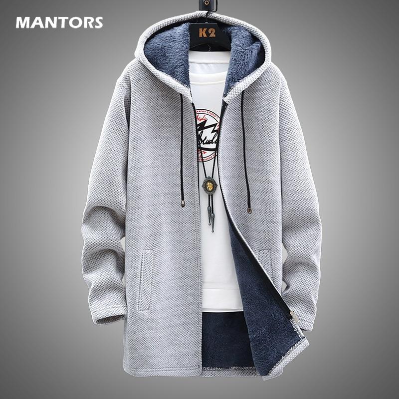 Мужской свитер, флисовый кардиган, зимняя куртка, мужские облегающие свитера, зимний длинный свитер с капюшоном, плотное теплое пальто, мужс...