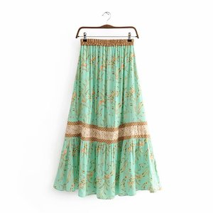 Image 2 - Vintage Chic fashion women  beach Bohemian floral print irregular hem rayon skirt High Waist Maxi  A Line Boho Skirt Femme