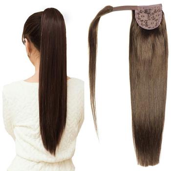 ZZHAIR 100g 16 #8222 -28 #8221 maszyna wykonana Remy włosy magia Wrap wokół przypinany kucyk w 100 doczepy z ludzkich włosów skrzyp Stragiht tanie i dobre opinie Proste 100 g sztuka Maszyna Stworzona Remy Ciemniejszy kolor tylko 1 sztuka tylko Pure color Clip-in Brazylijski włosy