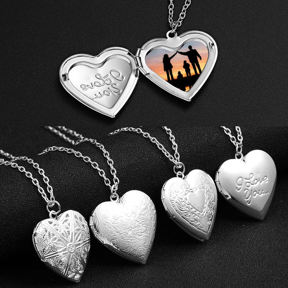 Silver Color Love Heart Locket Pendants For Women Men Openable Photo Frame Glossy Family Pet Picture Necklace Family Love Gift