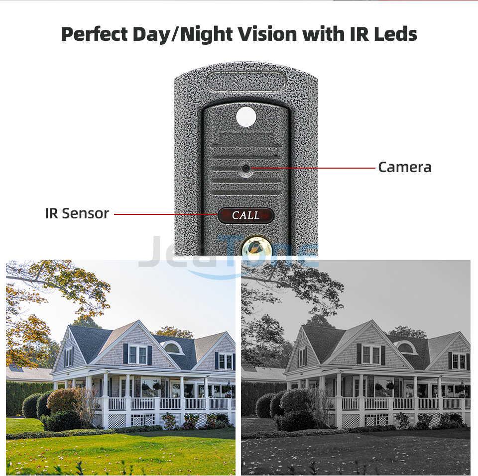 JeaTone 7 ''אינטרקום לבית HD Wired וידאו פעמון צג IR ראיית לילה Motion חיישן עבור אבטחת בית + 1200TVL מצלמה