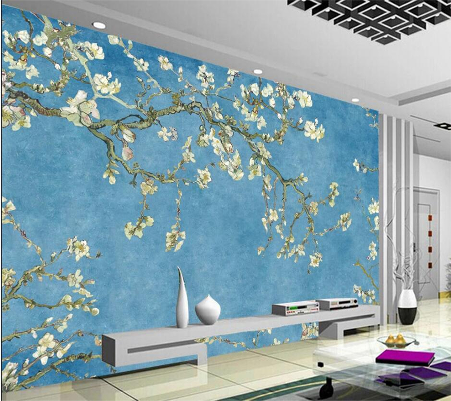 Custom Wallpaper 3D European Blue Oil Painting Magnolia Flower Background Wall Decoration Painting Living Room Bedroom Wallpaper
