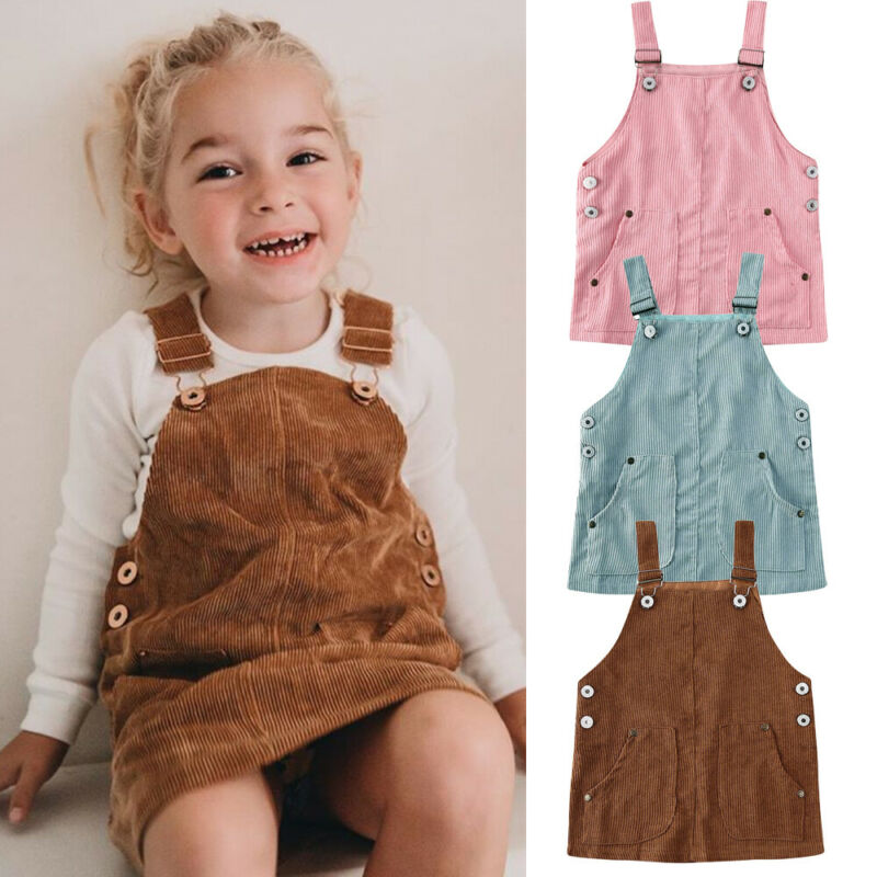 US Toddler Kids Baby Girls Autumn Winter Corduroy Strap Dress Outfits Clothes