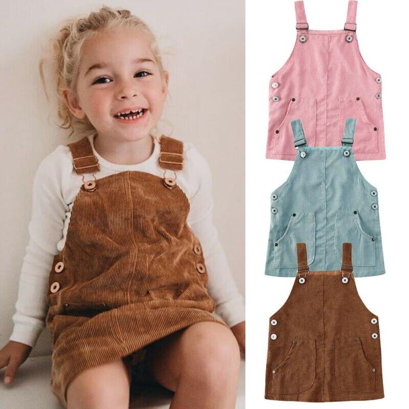 0-5y criança crianças meninas do bebê retro mini cinta vestido suspensórios sólido reto solto macacão vestido roupas