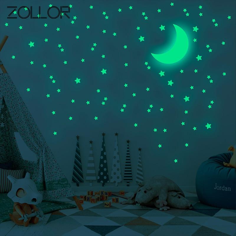 Zollor DIY 338pcs/set Stars Luminous Green Wall Sticker Glow in Dark Fluorescent Mural Decal Children Bedroom Ceiling Decoration