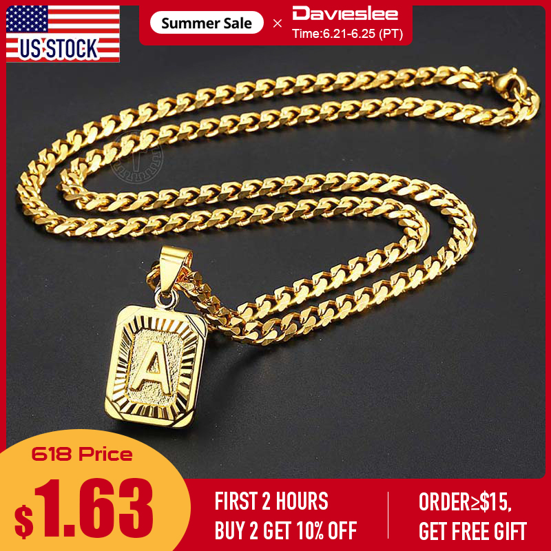 A-Z Pendant Letter Necklace for Men Women Stainless Steel Curb Cuban Chain Wholesale Dropshipping Jewelry US Stock 18inch DGP62