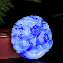 Jewelry Necklace Charm Jade Pendent Pixiu Protect Hand-Carved Natural Blue-Color Women