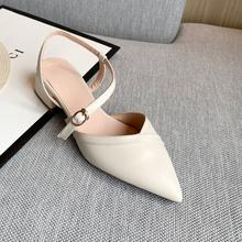2020 Summer Sandals Mixed Material Chunky Baotou Youth Semi-High Heeled Buckle Commuter Buckle Women's Sandals