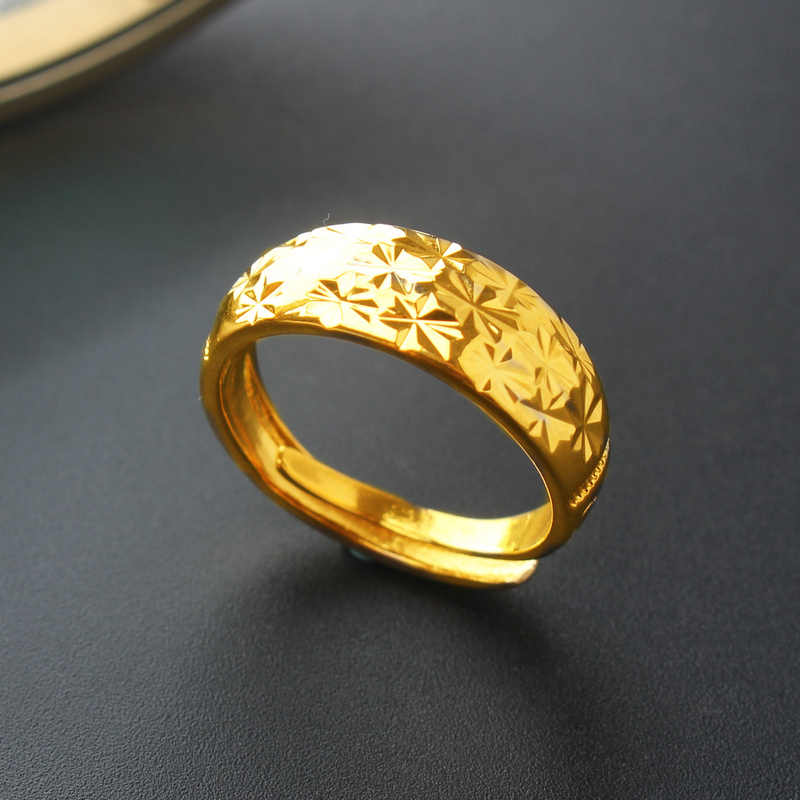 New charm gold jewelry men and women paragraph 24k gold ring opening design ring rich style gold ring birthday present bijoux