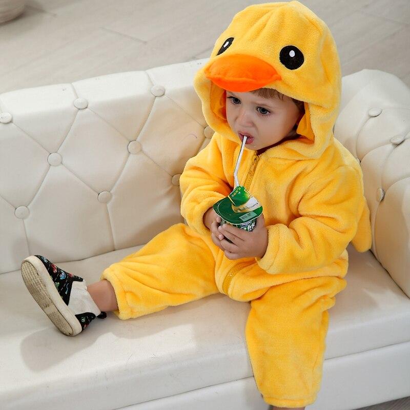 Image 4 - Umorden Baby Yellow Duck Costume Cosplay Kigurumi Cartoon Animal Rompers Infant Toddler Jumpsuit Flannel Halloween Fancy Dress