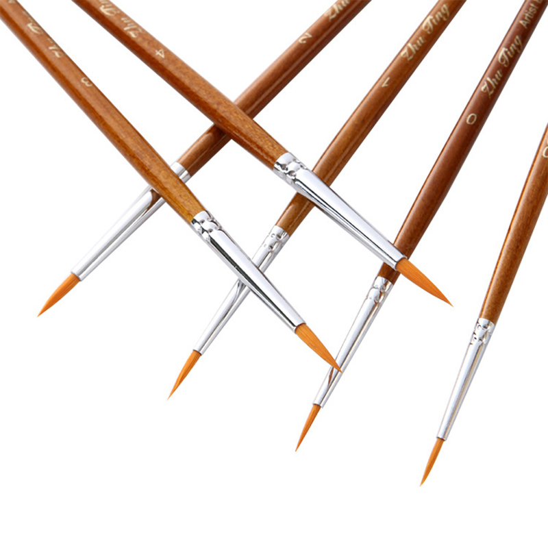 7Pcs/Set Miniature Hook Line Pen Fine Watercolor Paint Brush Set For Drawing Gouache Oil Painting Brush Art Supply