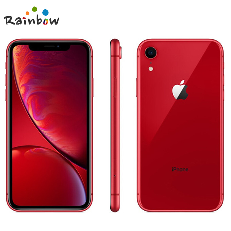 "Apple iphone xr original desbloqueado, tela com retina líquida de 6.1 ""totalmente lcd 64gb/128gb/256 smartphone apple 4g lte, rom de 2"