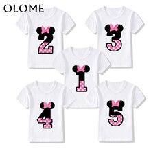 Bow Happy-Birthday-Letter Cartoon T-Shirt kids Print Boys/girls Summer Number 1-9 KTP5188