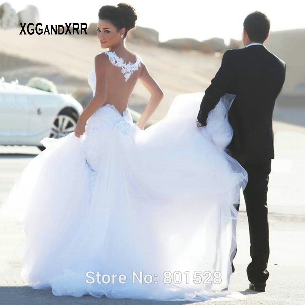 Elegant Sheer Tulle Lace Wedding Dresses for Bride 2019 Long Mermaid Appliques Wedding Gowns for Women Ball Gown