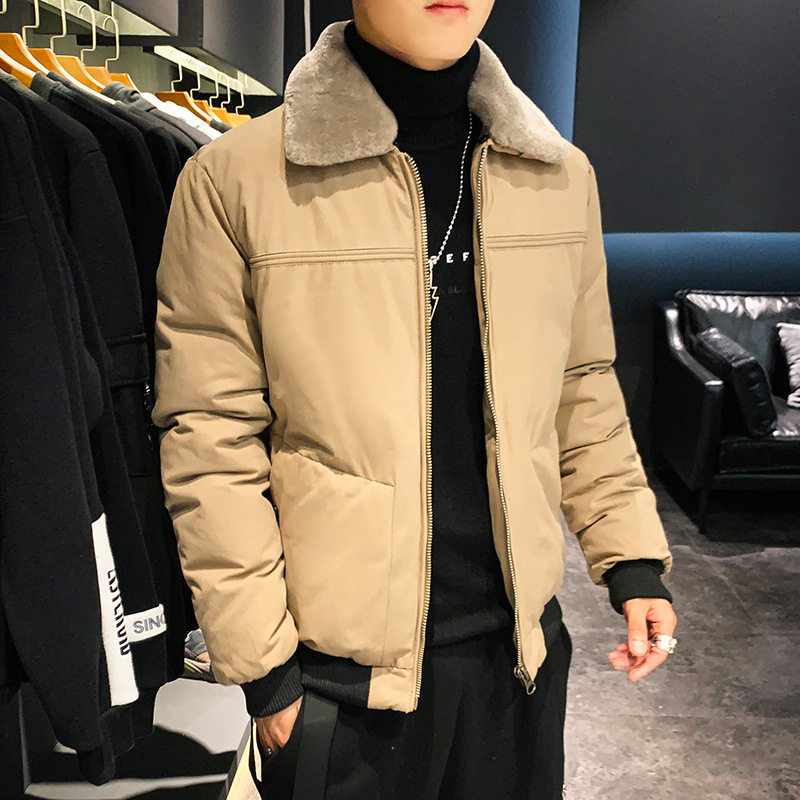 Winter Cotton Down Jacket Korean Men's Trend Net Red Thick Lapel Youth Slim Warm Parka Coat Jacket Men's Clothing