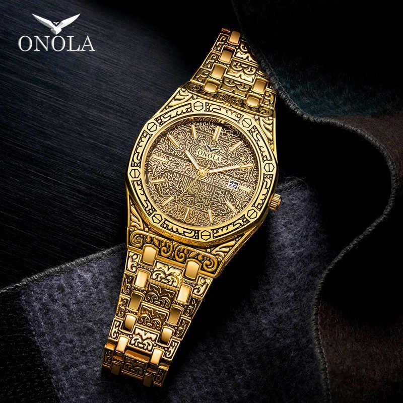 Montre de mode hommes marque ONOLA 2020 nouveau luxe classique concepteur en acier inoxydable bracelet or montres pour hommes reloj hombre